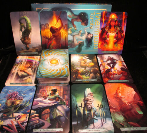 SEALED BRAND NEW! MERMAID TAROT CARD & FULL COLOR BOOK ORACLE MAGNETIC CLOSE BAX