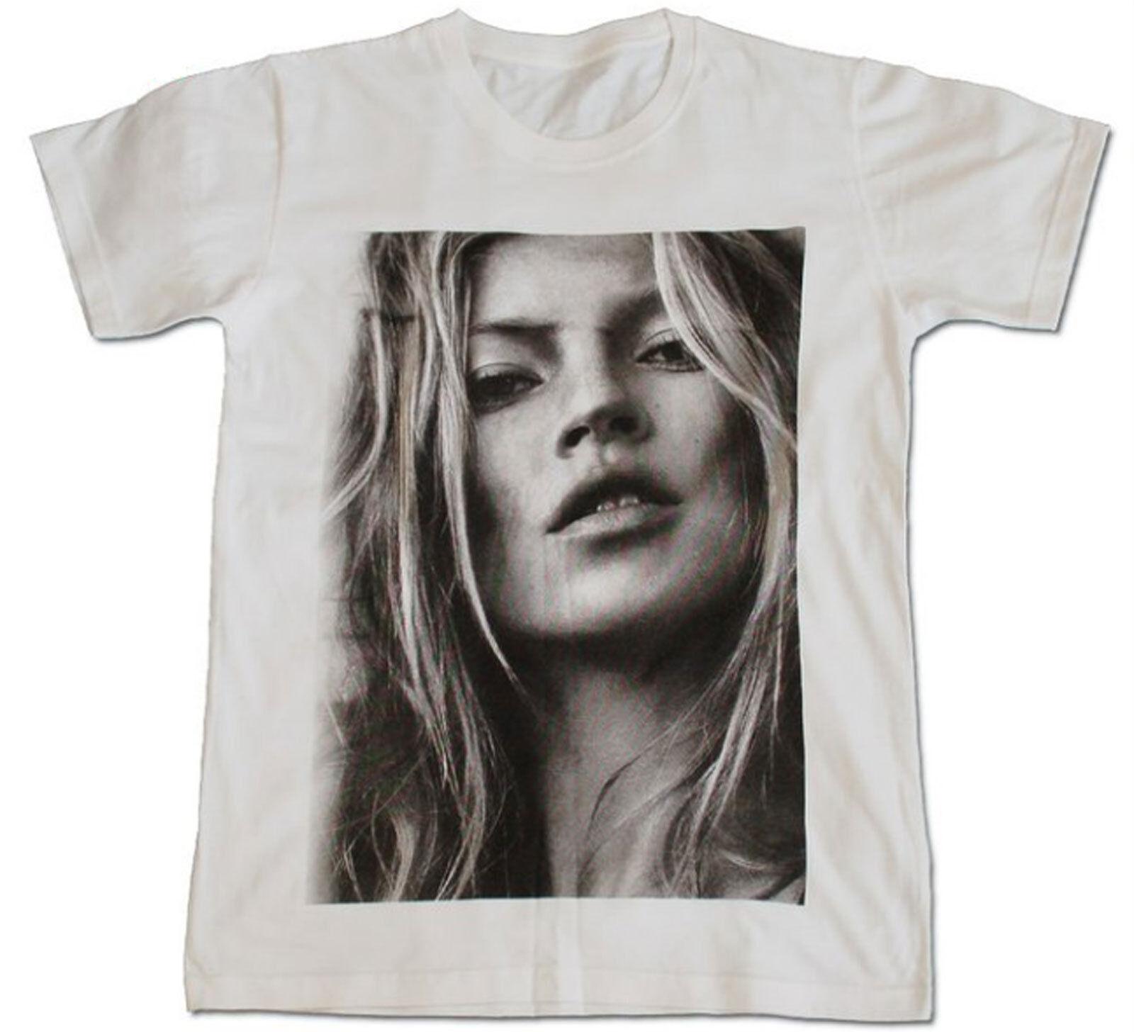 Kate Moss Sexy Model Men Printed T Shirt Punk Rock Shirts White Tees