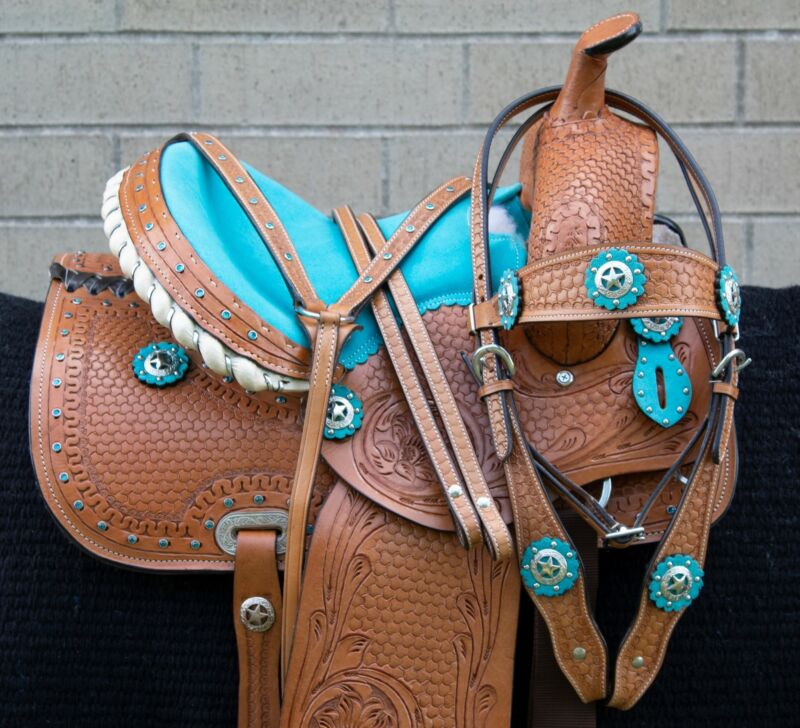 HORSE SADDLE WESTERN USED TRAIL BARREL RACING BLUE SHOW LEATHER TACK 12 13 14