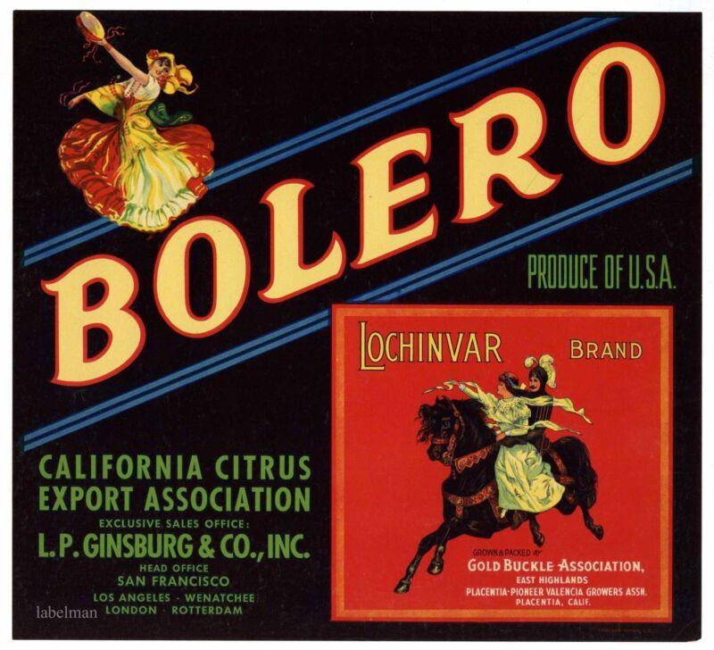BOLERO Brand, Lochinvar Inset ***AN ORIGINAL CITRUS CRATE LABEL***  E45