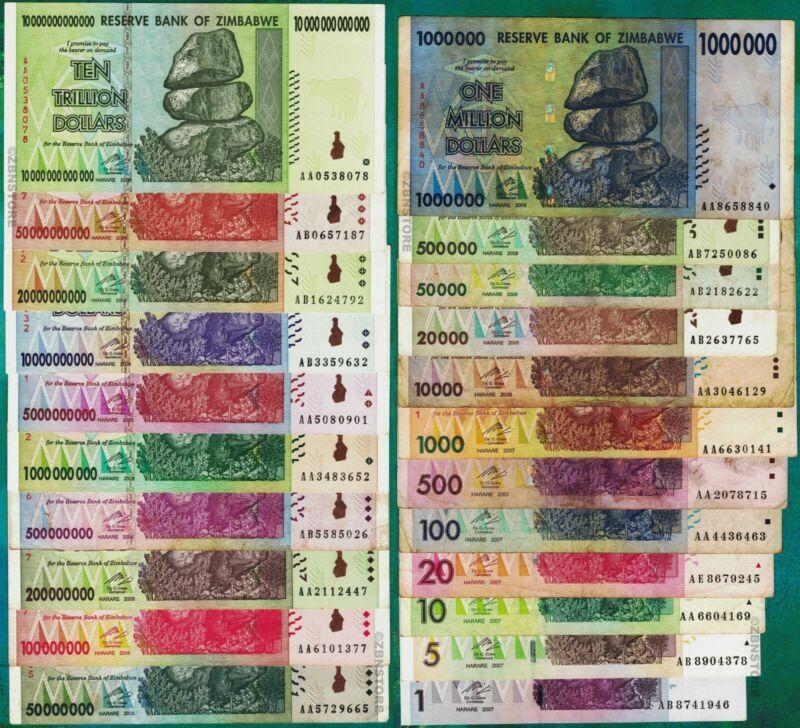 10 Trillion Zimbabwe Dollars Set 20 Different Banknotes 50 Billion 100 Million +