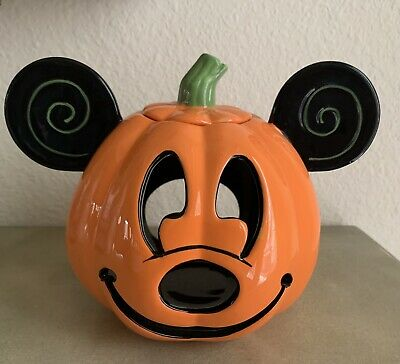 Disney Parks Mickey Mouse Halloween Jack O Lantern Pumpkin Ceramic Candle Holder