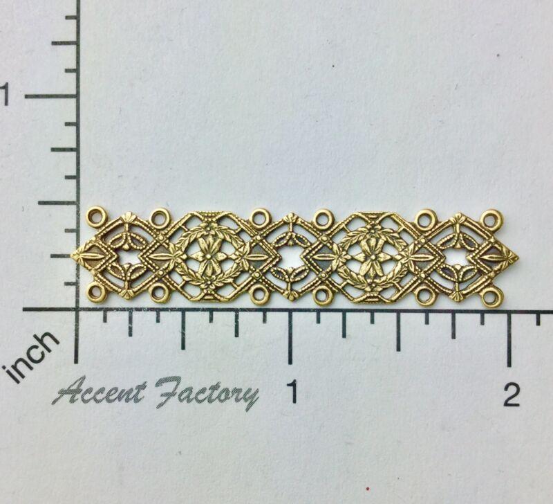 25933         Brass Oxidized Victorian Filigree Bar Jewelry Finding