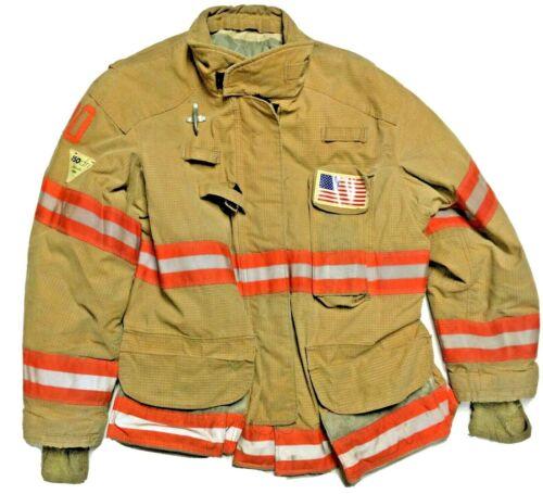 54x32 Janesville Lion Firefighter Brown Turnout Jacket with Orange Stripes J937
