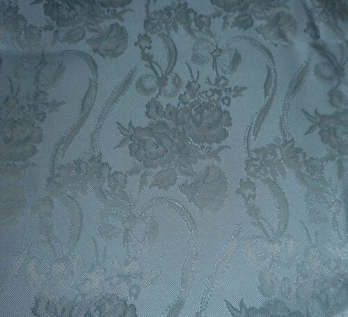 Vintage Retro Floral Garland Satin Damask Fabric ~ Powder Blue