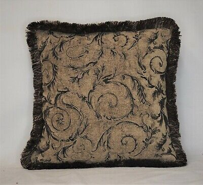 beige black gold leaf floral chenille decorative throw pillow for sofa chair Black Floral Throw Pillow