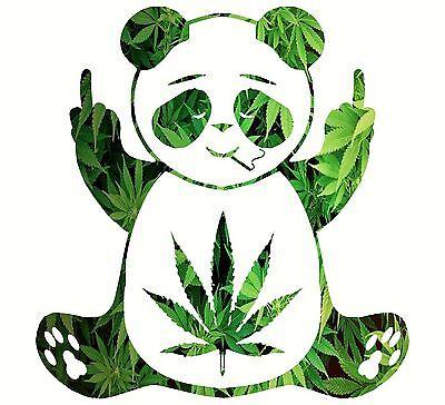 Pot Leaf Panda Decal Vinyl Mossy Oak Hippie Sticker Marijuana Camo 420