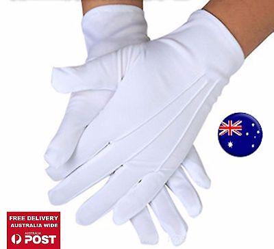 AU Men Lady white Stripe Party Fancy Costume Magician Driving SHORT Satin Gloves - White Magician Gloves