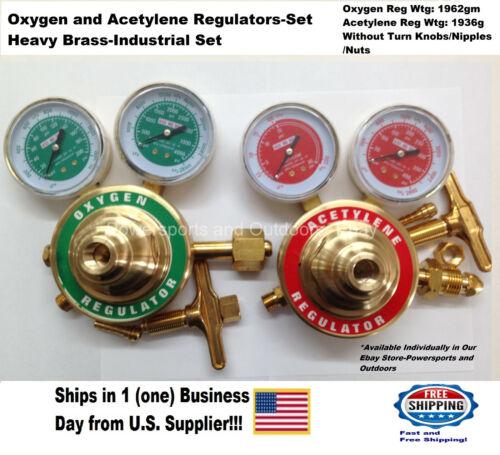 Acetylene & Oxygen Regulators, 1 Set (Heavy Brass-Industrial) US Supplier!