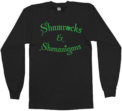St Patricks Day Shirts Men (Shamrocks & Shenanigans Men's Long Sleeve T-Shirt Irish St Patricks)