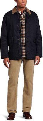 Nautica Mens Wax Twill Barn Jacket Large Blue Full Zip Snaps Patch Pockets Vents
