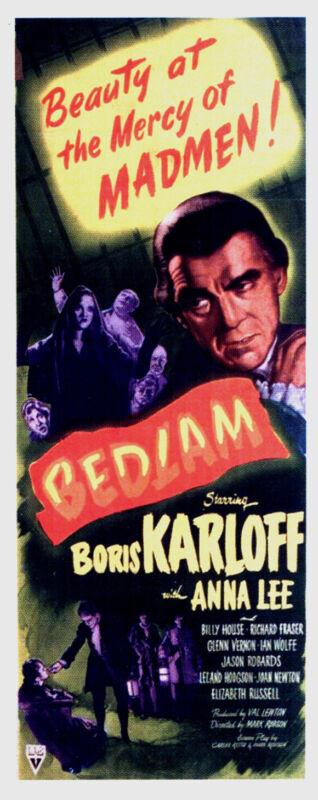 BEDLAM Movie POSTER 14x36 Insert Jason Robards Sr. Ian Wolfe Glenn Vernon Boris