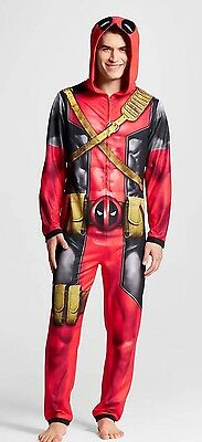 Marvel Mens DEADPOOL One Piece Union Suit HOODED Fleece Pajama Halloween Costume
