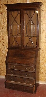 1920s - Solid Oak Bureaux Bookcase with Glazed Top and Drawers.