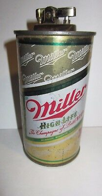 Original 12 Once Tin Can Vintage Miller High Life Beer Can Lighter Used.