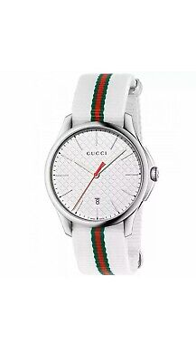 New Gucci G-Timeless Silver Dial Striped Nylon Strap YA126322 Swiss Watch