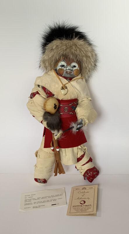 Sally Thielen Native American Art Doll Spirit Doll  Raku Chippewa Michigan COA