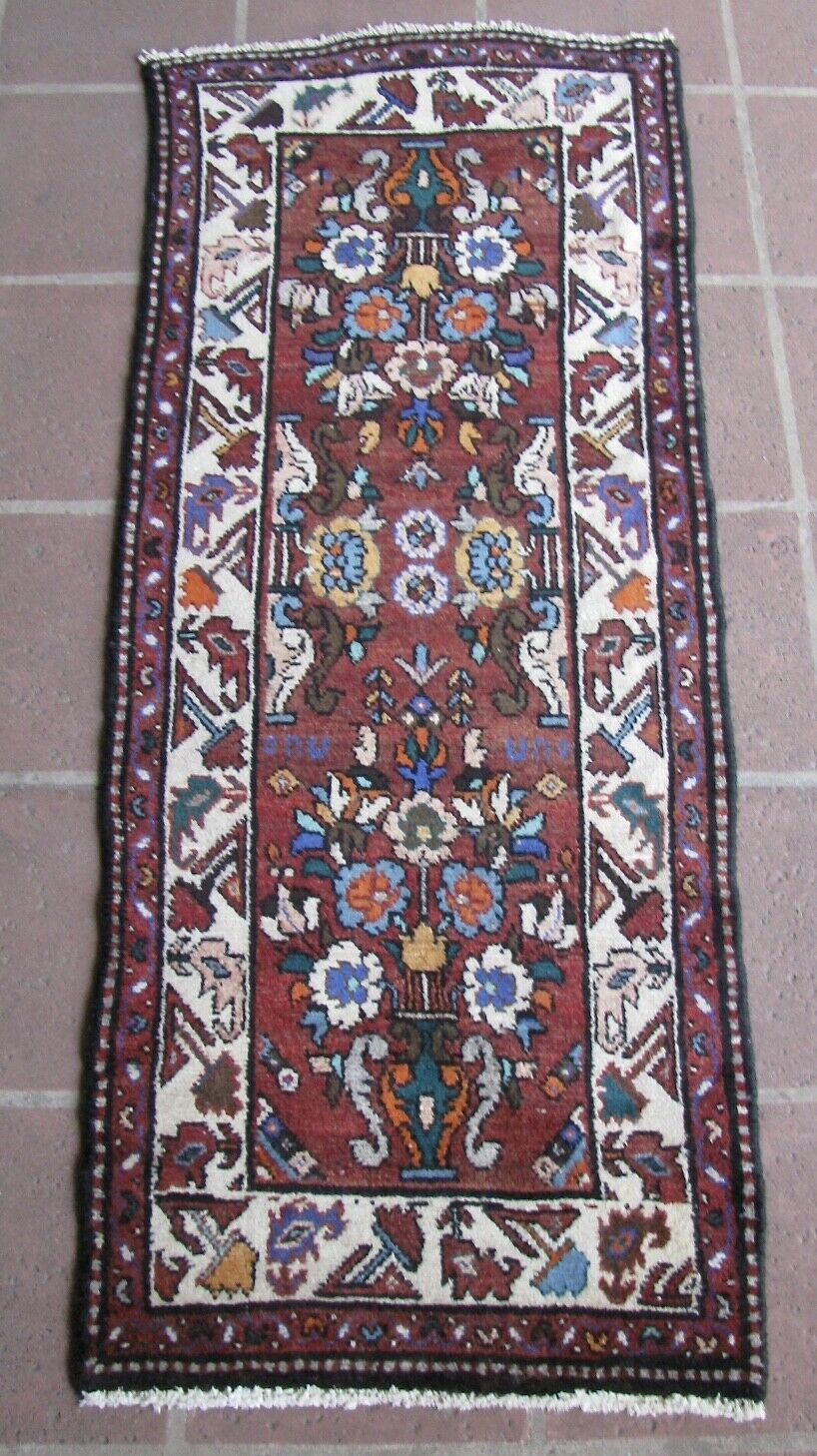 Small C1935 Almost Antique 2 2 X 5 2 Narrow Hamadan Complimentary Shipping - $125.12