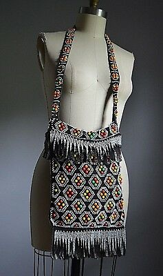 VTG 70's HIPPIE CHIC FESTIVAL BEADED & FRINGED CROSS BODY MESSENGER POUCH BAG