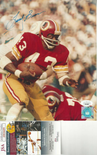 Washington Redskins Larry Brown  autographed 8x10 action   photo JSA Certified