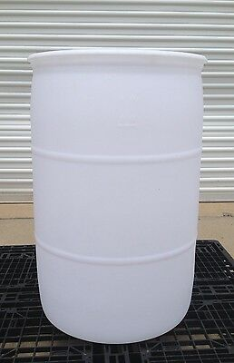 PLASTIC BARREL 55 GALLON HDPE - White - Closed Top Barrel-  2 Bungs
