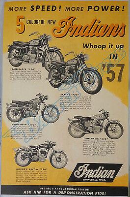 Royal Enfield Indian Motorcycle 1957 Model Range Poster Trailblazer Apache