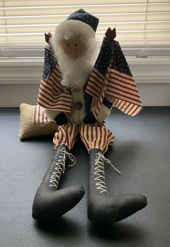 "Folk Art Primitive Americana Patriotic Uncle Sam Sitting Doll Fabric 18"" **READ"