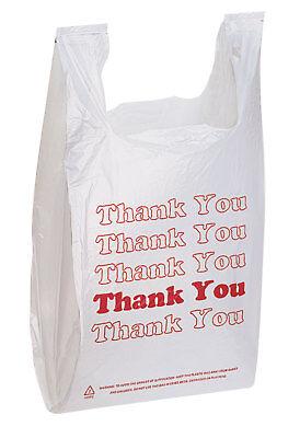 1000 Plastic Grocery T-shirt Bags Supermarket 11 X 6 X 21 Thank You Shopping