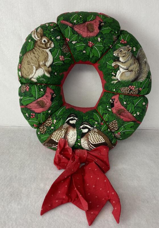 Vintage Christmas Fabric Wreath Holiday Decor Squirrels Cardinals Birds
