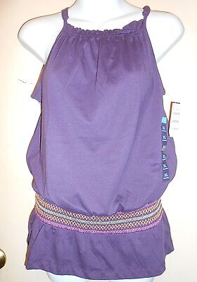The Childrens Place Girls Smocked Tunic Cami Style Top Purple XL/14 NWT