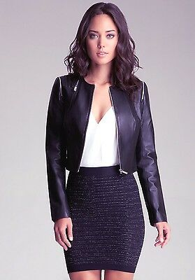 NWT bebe black zipper Genuine Leather fashion top moto coat Jacket XS 0 2 sexy
