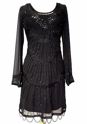 20's Flapper Gatsby Embellished Long Sleeve Chiffon Dress Black BNWT 8 - 24 - Long Sleeve Flapper Dress