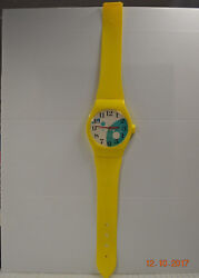 Vintage Quartz Jumbo Oversized Plastic Yellow Watch Wall Clock - Made in Taiwan