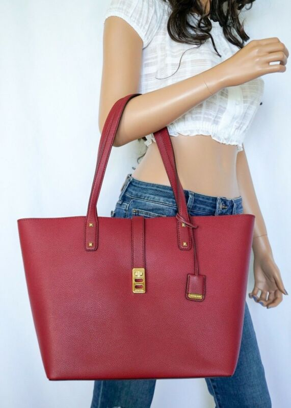 f5735dc518fd NWT MICHAEL KORS KARSON LARGE CARRYALL TOTE PEBBLED LEATHER BAG MULBERRY.  Top Seller