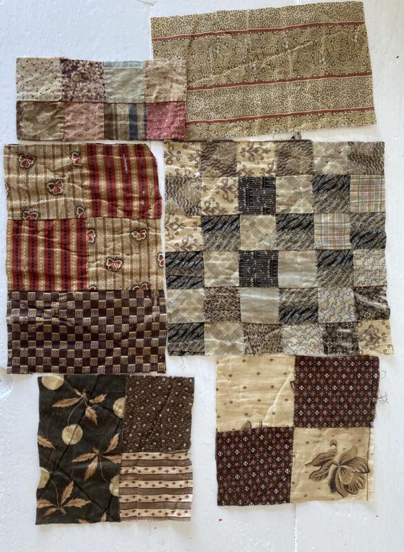 Antique Quilt LOT, 1800's, Brown Squares Design, AAFA
