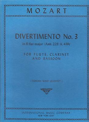 B-flat Clarinet Music Book - Mozart Divertimento No 3 B Flat Major for Flute & Clarinet Sheet Music Book