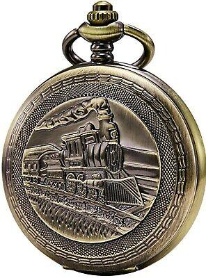 Orologio da taschino con catena da uomo, analogico, carica manuale, locomotiva