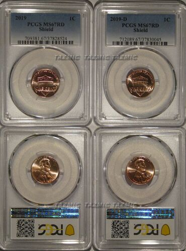 2019 P & D Lincoln SHIELD Cent 2 Coin Set 1c PCGS MS67RD