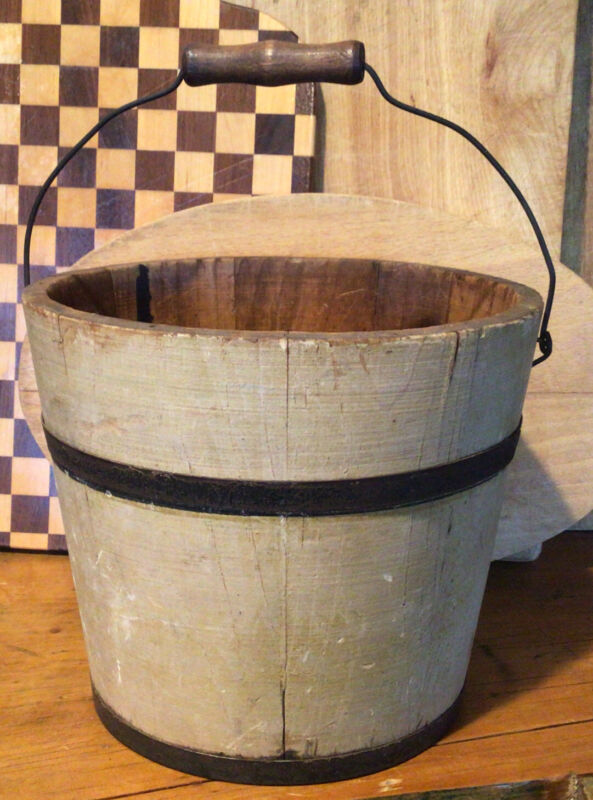 "Antique Primitive 6"" Small Early Yellow Oyster Paint Wood Staved Bucket Pail"