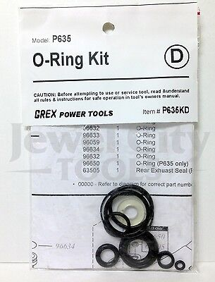 Grex Replacement O-Ring Kit for P635 Pinner  - Part # P635KD