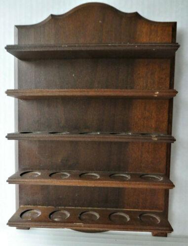 Vintage Dark Wood Thimble Display Case, Solid Wood  Hanging Wall Shelfs