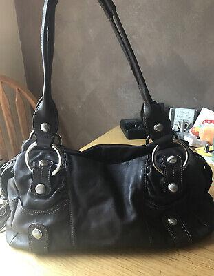 B. Makowsky Large Dark Brown Leather Shoulder Handbag Slouch Hobo Zip Tote EUC
