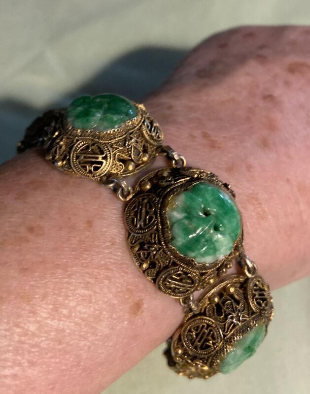 Antique Chinese Export Silver & Carved Jadeite Jade Filigree Vintage Bracelet