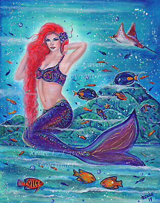 """Lighted Mystical Mermaid Arch Wall Mount Canvas  15/""""h Hanging Mural Sea Siren"""