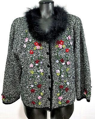 Just B Womens XL Feather Boa Trim Cardigan Sweater Appliqués Beads Marled Black