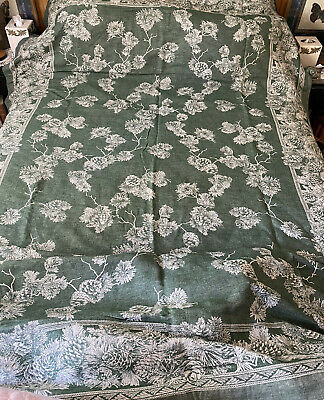 "Vintage Pinecone Table Cloth Green Williams Sonoma Jacquard Linen 70"" x 103"""