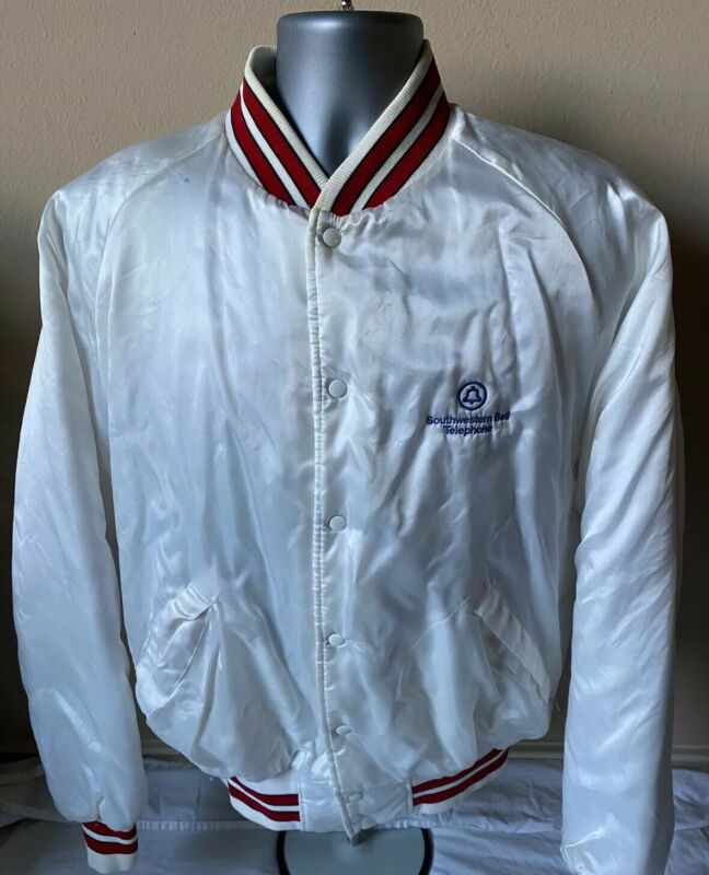 Vtg 1980's Southwestern Bell Telephone Employee Satin Jacket Mens XL USA Made
