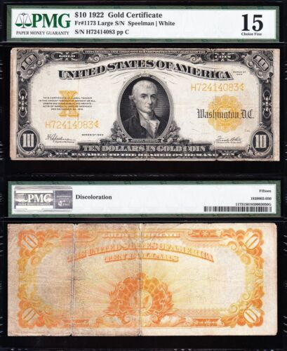 Choice Fine 1922 $10 *GOLD CERTIFICATE*! PMG 15! FREE SHIPPING! H72414083