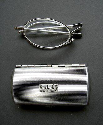 Lesebrille klappbar Unisex Faltbrille Silber Teleskop Lesehilfe im Metall Etui