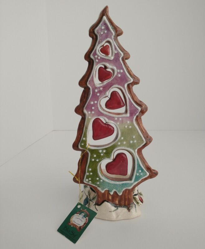 🎄NWT~Blue Sky~Clayworks~Heather Goldminc~Heart~Christmas~Tree~Tea Light~Holder